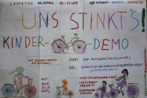 3. Potsdamer KIDical Mass-Fahrraddemo mit »Hambi-bleibt«-Soli-Aktion